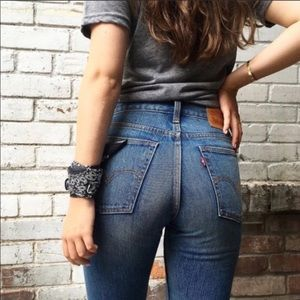 Levi's high rise wedgie tapered leg mom jeans